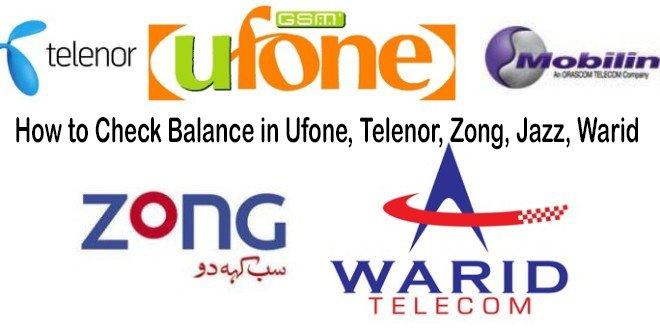 How to Check Balance in Ufone Telenor Zong Jazz Warid