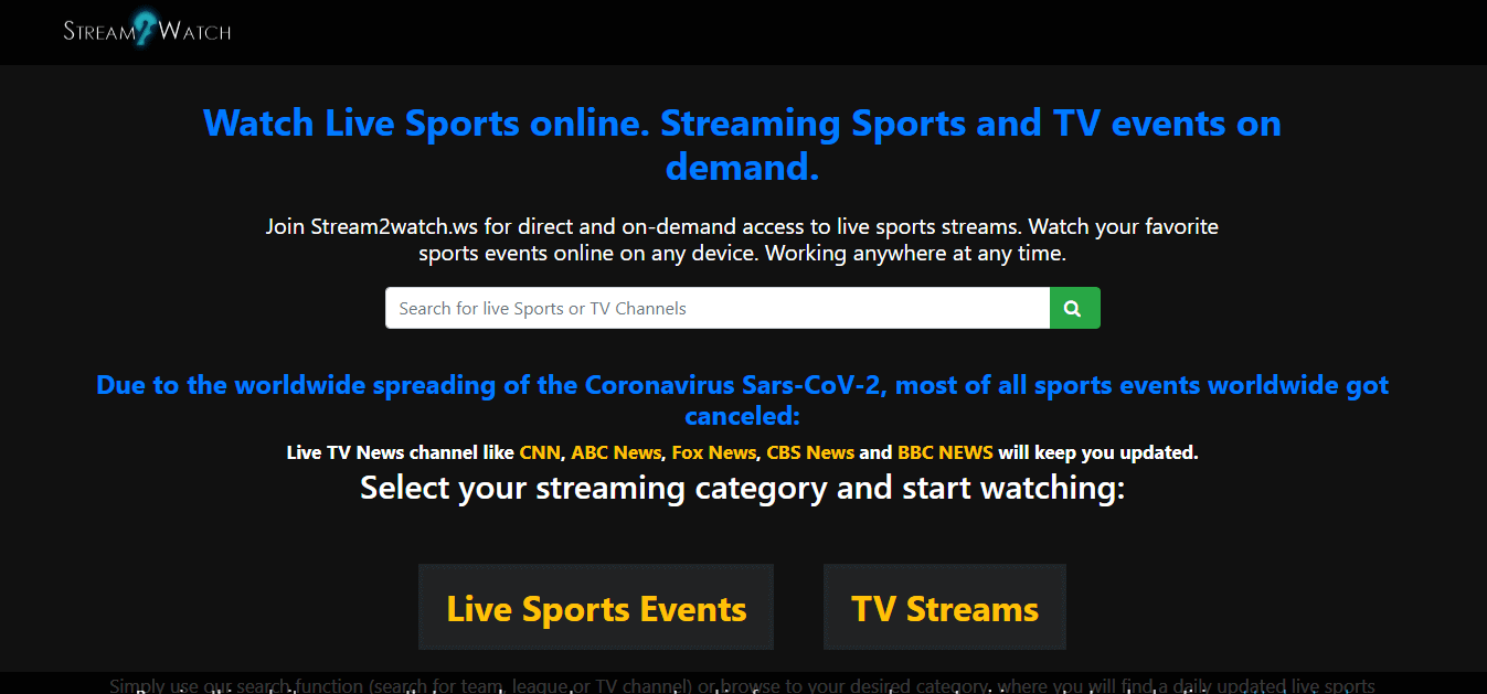 Stream2Watch 2020: The Best Live Sports Streaming Website for Free Movies News