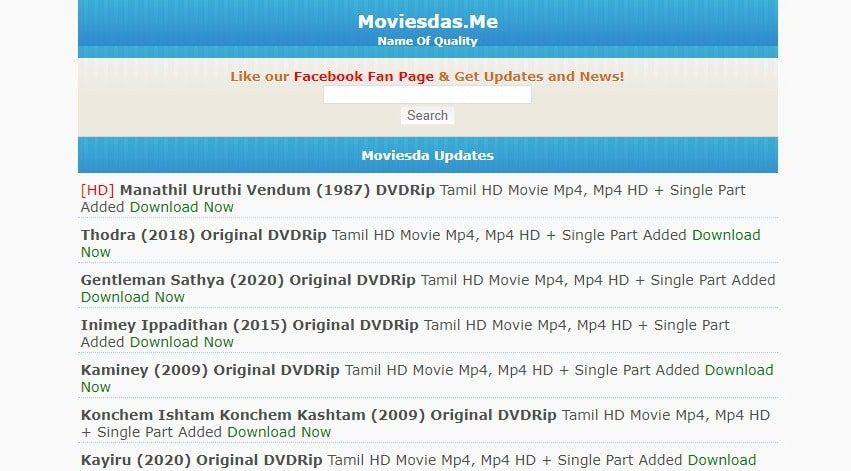 Moviesda Website – Watch Many Types Of Tamil HD Movies!